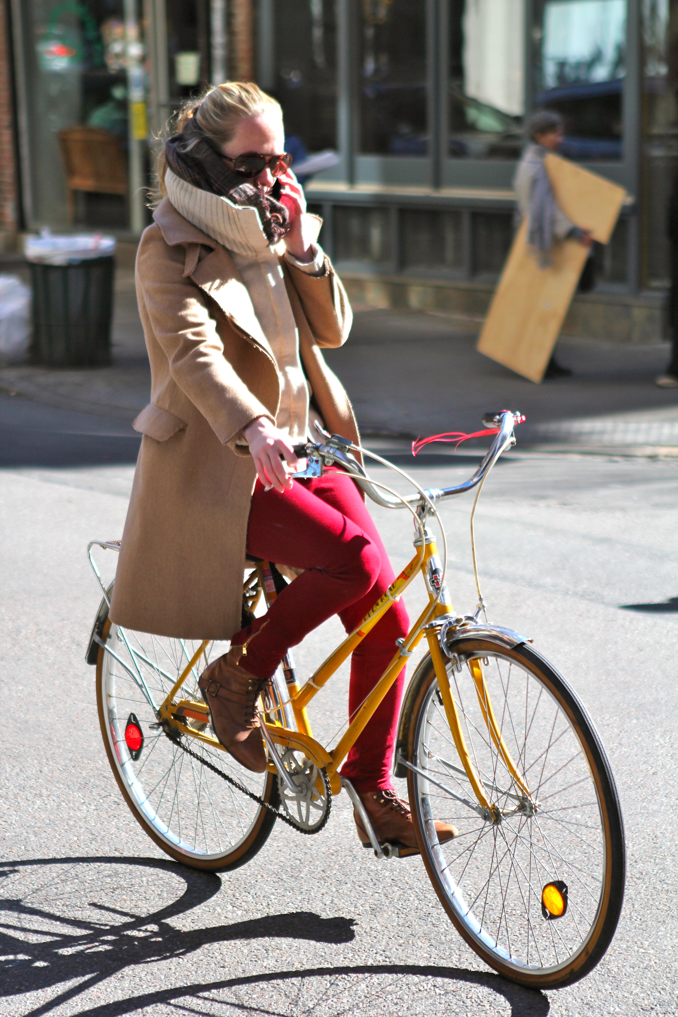 Fashion style Style street bicycle riding in style for woman
