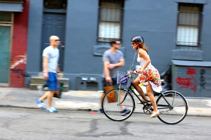 nyc woman on bike