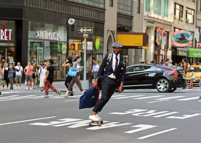 skateboarding down 7th